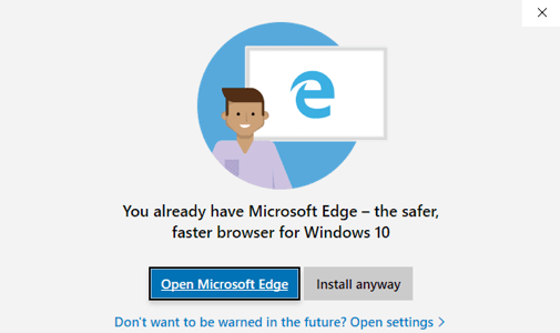 Edgeをすすめるポップアップ