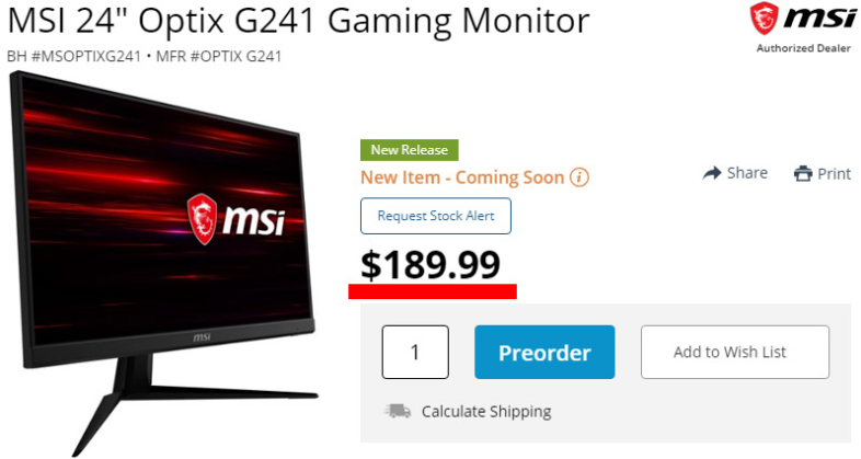 MSI Optix G241販売価格