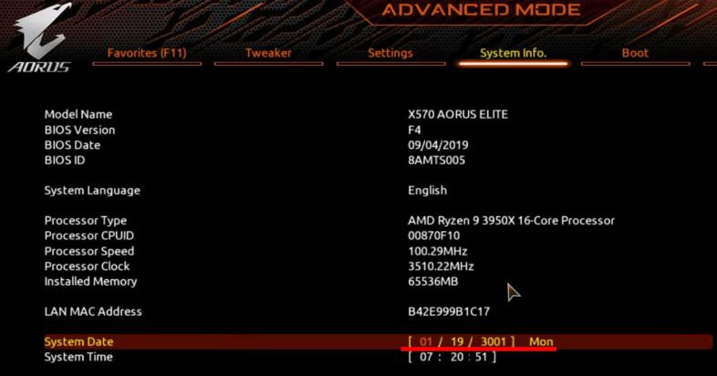 3001年1月19日に設定されたマザーボードBIOS
