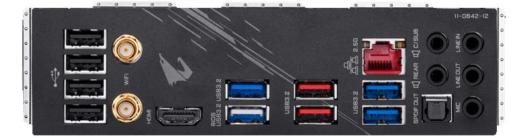 Gigabyte Z490 AORUS ELITE - バックパネル