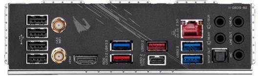 Gigabyte Z490 AORUS PRO AX - バックパネル