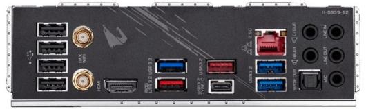 Gigabyte Z490 AORUS ULTRA G2 EDITION - バックパネル
