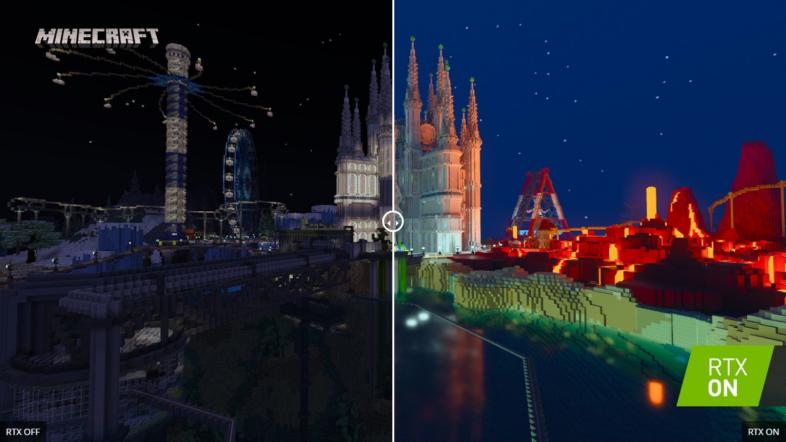 Minecraft with RTX - レイトレーシング オフ / オン