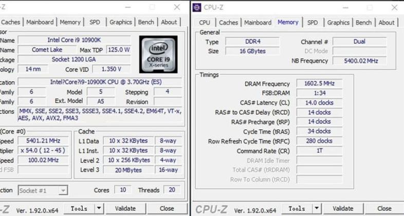 Core i9-10900K@5.4GHz
