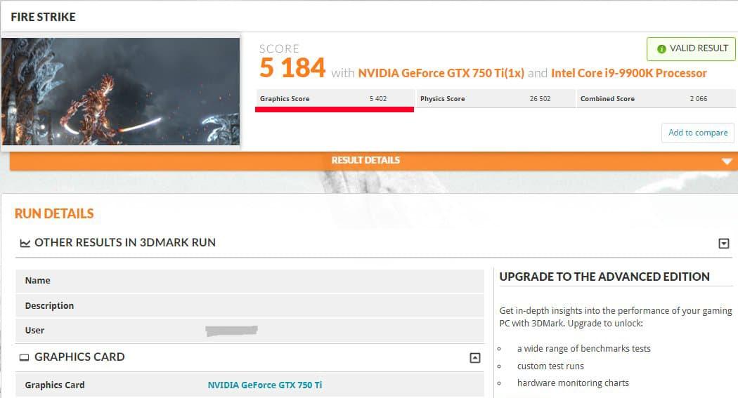 3DMark Fire Strike - GeForce GTX 750 Ti