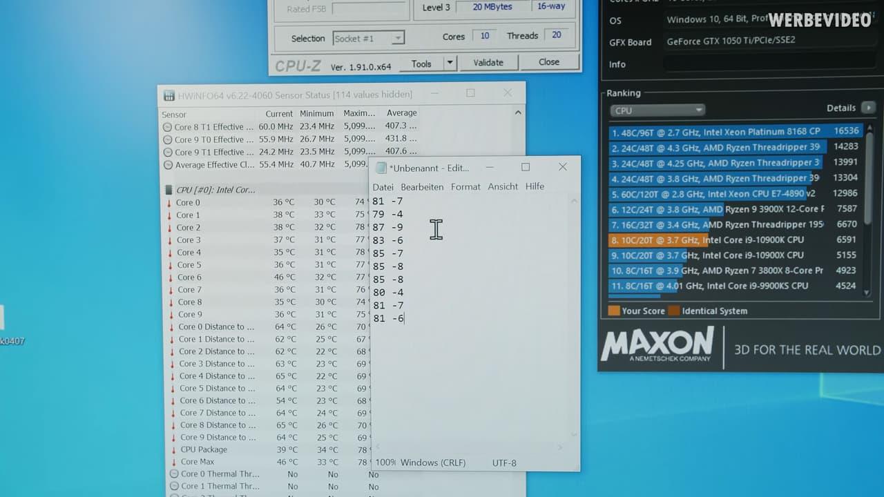 Cinebench R20 - Core i9-10900K殻割前と殻割後の温度差