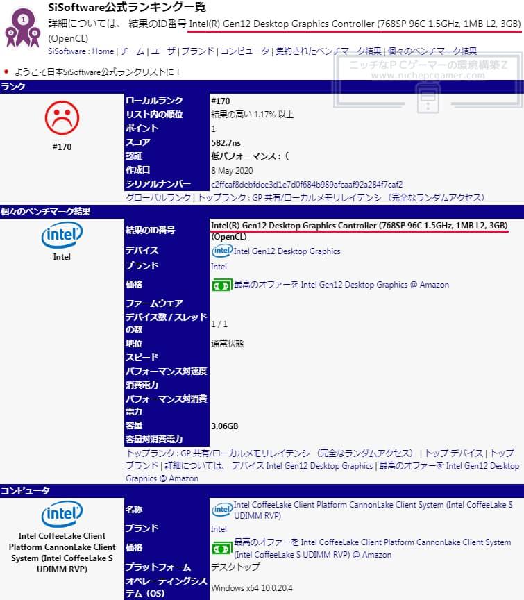 Sandra - Intel Xe『DG1 Software Development Vehicle』