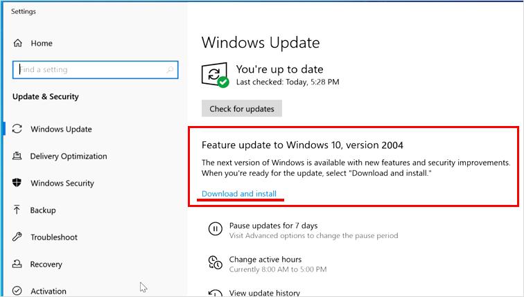 WindowsUpdate v2004確認画面