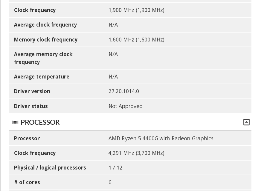 3DMark - Ryzen 5 4400G