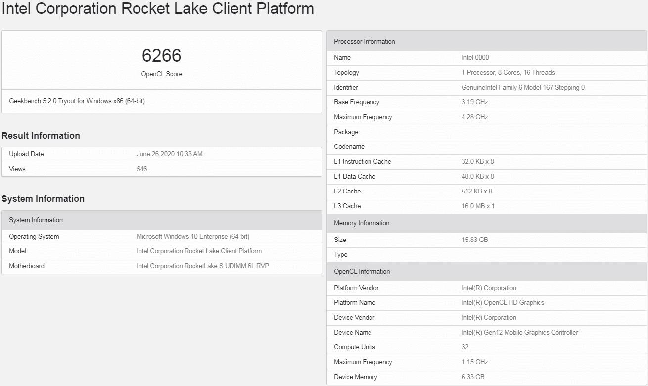 Rocket Lake-S ES