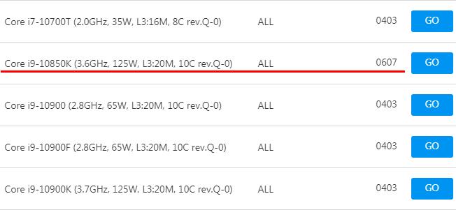 ASUS Z490マザーボード - CPUサポートリスト