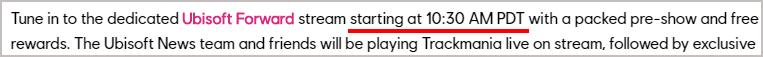Ubisoft Forward - 記事に書かれた配信開始時刻
