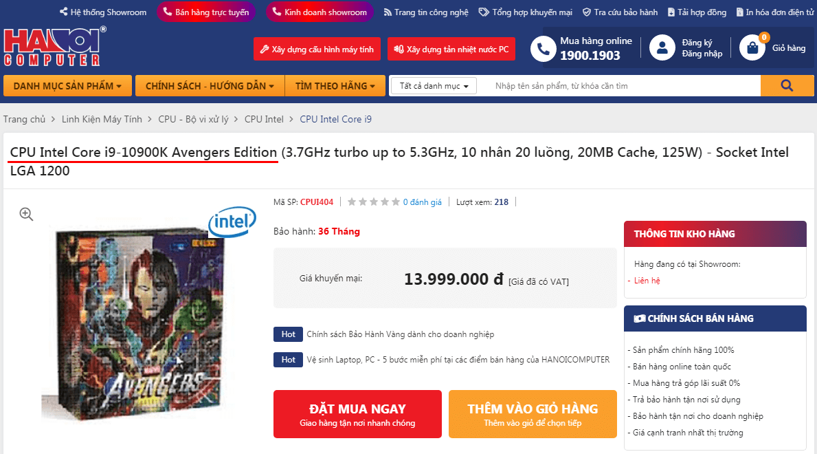 Intel Core i9-10900K Avengers Edition