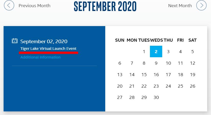 Intel - 2020年9月のスケジュール