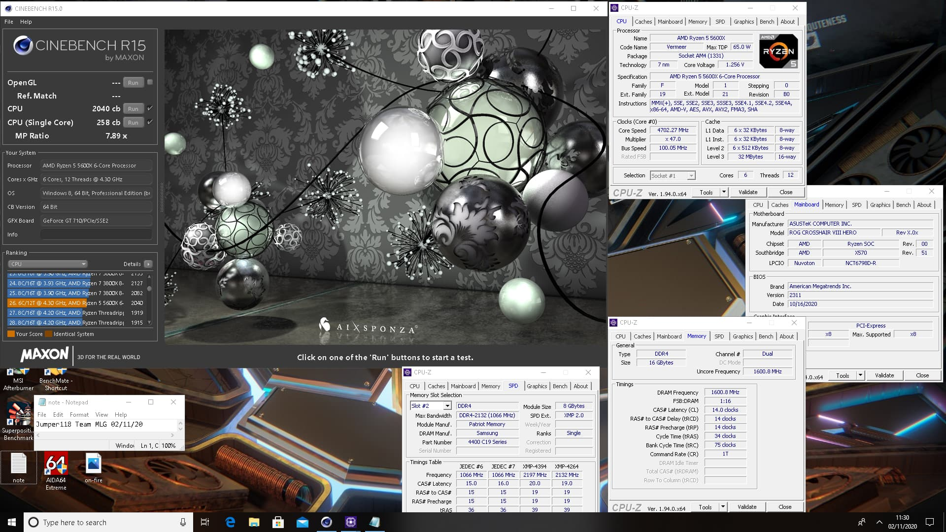 Cinebench R15 - Ryzen 5 5600X@4.7GHz シングル258cb マルチ2040cb