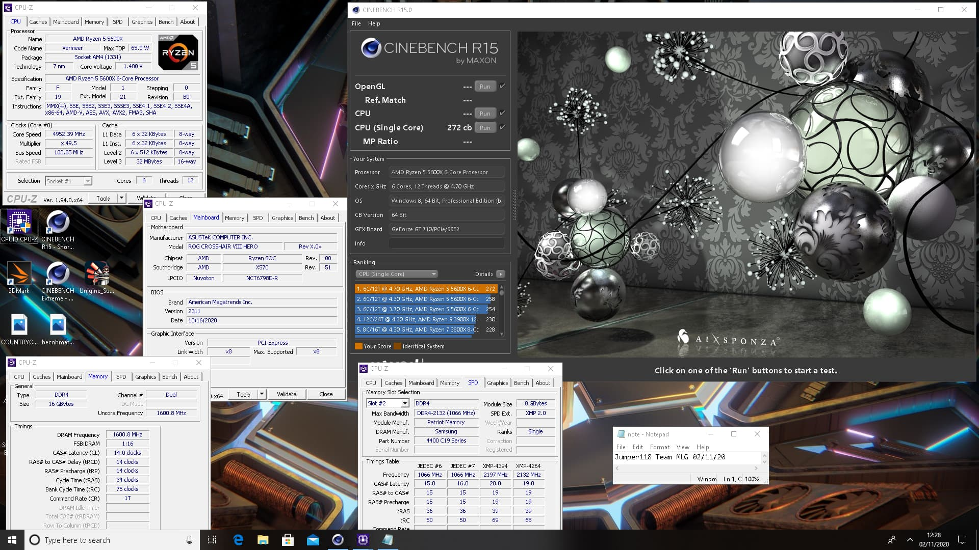Cinebench R15 - Ryzen 5 5600X@4.95GHz シングル272cb