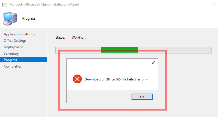 Download of Office 365 file failed, error =