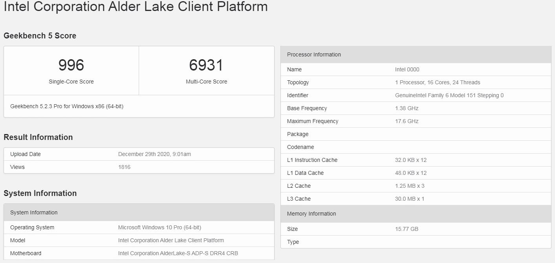 Geekbench - Alder Lake-S