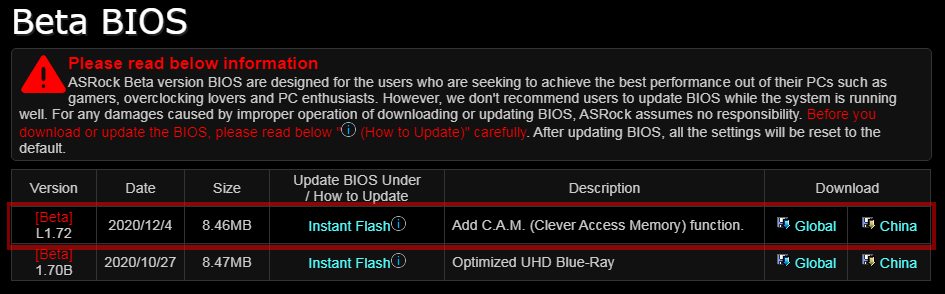 ASRock Clever Access Memory (CAM)対応ベータBIOS