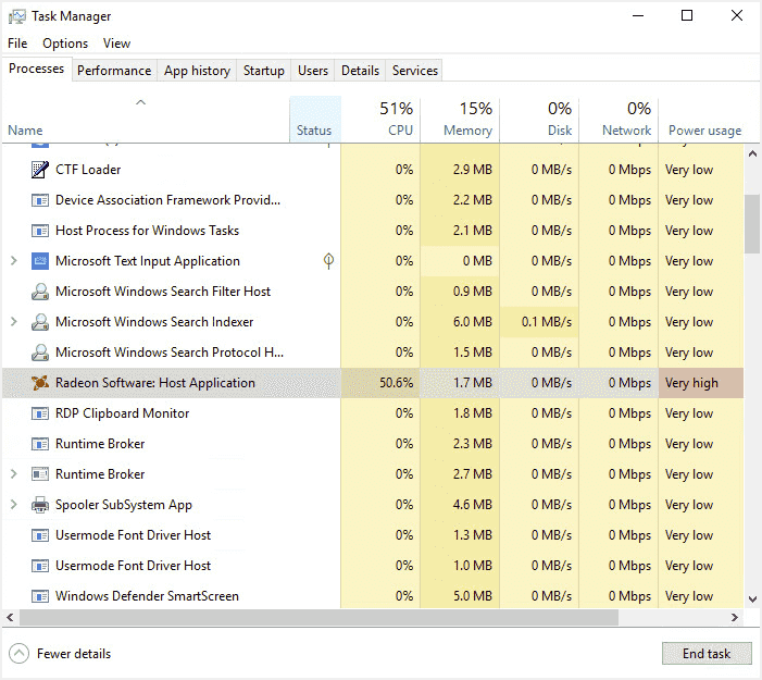 RadeonSettings.exeが暴走して1コアだけCPU使用率が100%になる場合がある