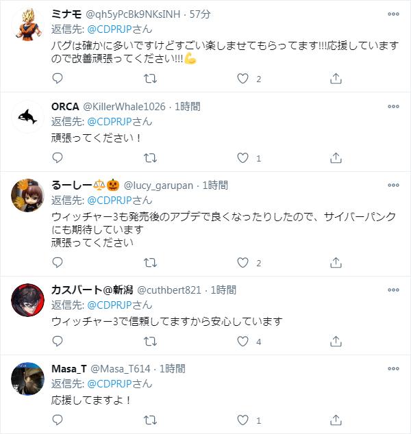 ツイッターでの反応 - 応援メッセージで溢れている