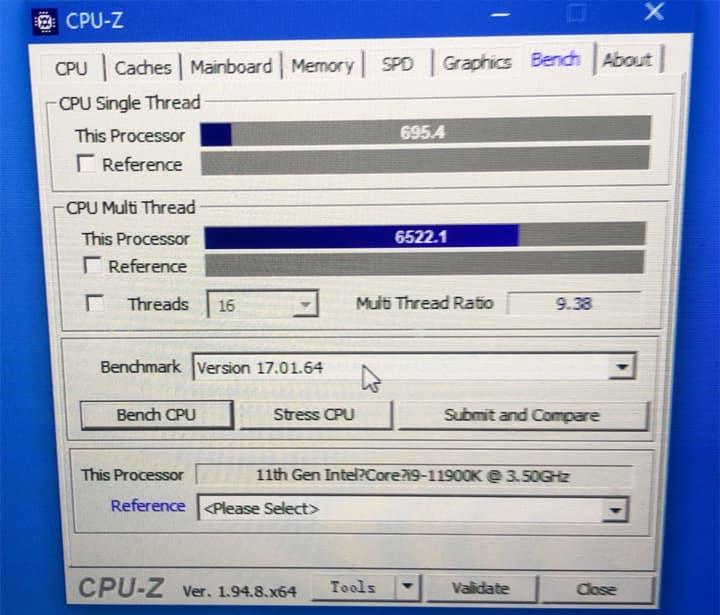 CPU-Z - Core i9-11900K シングル695.4、マルチ6522.1