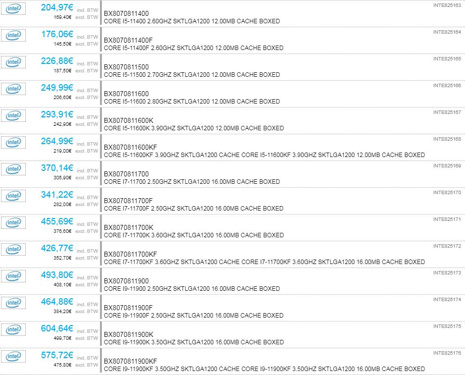 Intel第11世代Core / Rocket Lake-S - 2Computeでの販売価格