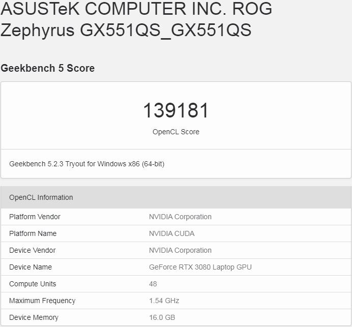 Geekbench - GeForce RTX 3080 Laptop GPU