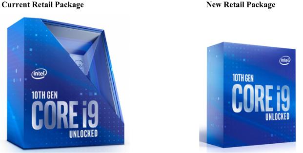 Core i9-10900K - 左: これまでのパッケージ / 右: 新パッケージ