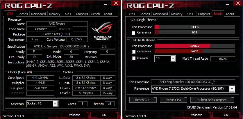 CPU-Z - ES版Ryzen 7 5700G シングル613.6 マルチ6296.2