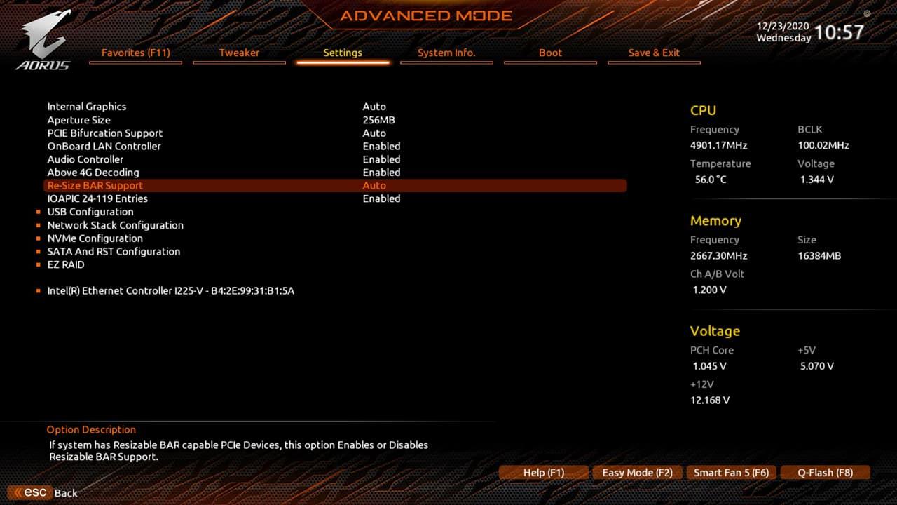 Resizable Base-Address Register (Resizable BAR) 設定項目