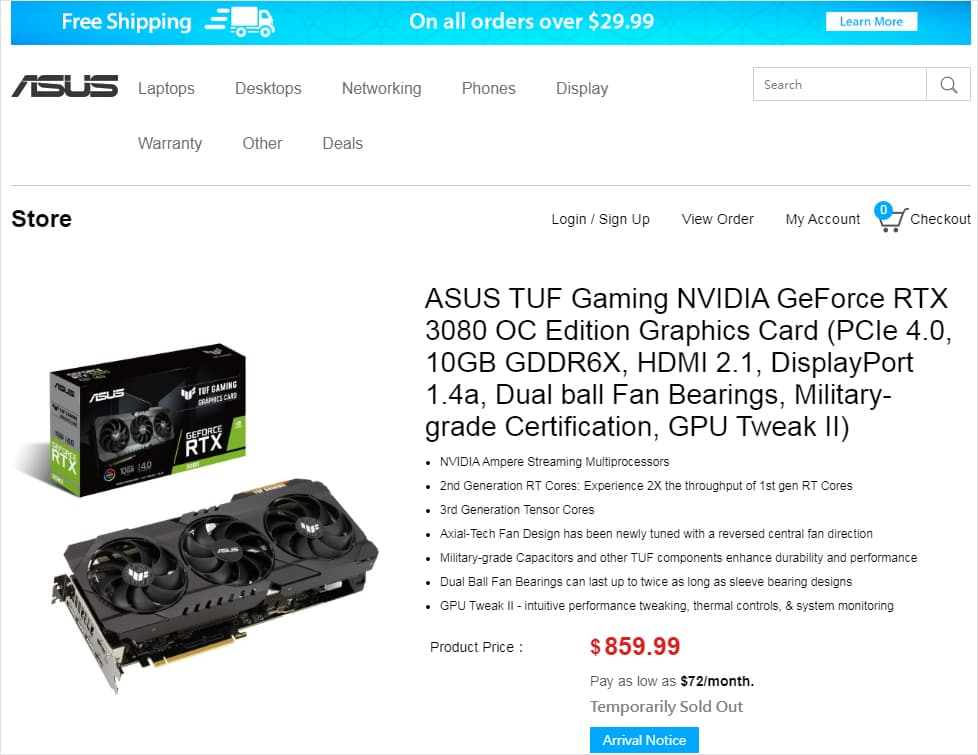 ASUS TUF GeForce 3080 OC - 2021年1月5日時点 $859.99