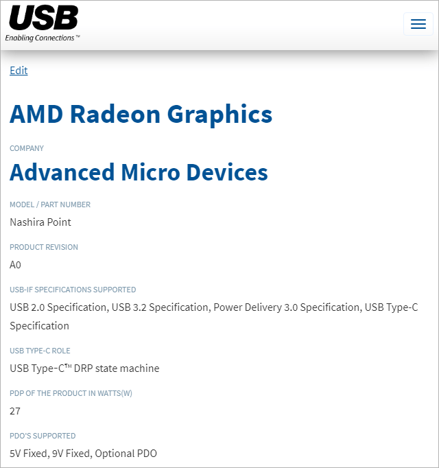 USB-IF - AMD Radeon Graphics Nashira Point
