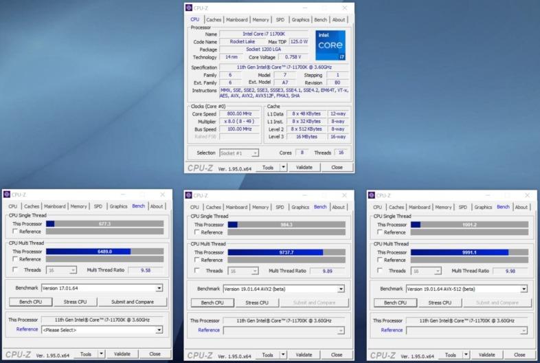 Intel Core i7-11700K - CPU-Z