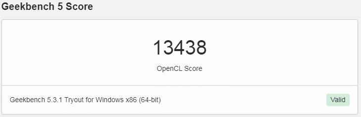 Geekbench OpenCLスコア - Alder Lake-P 96EU GT2: 13438ポイント