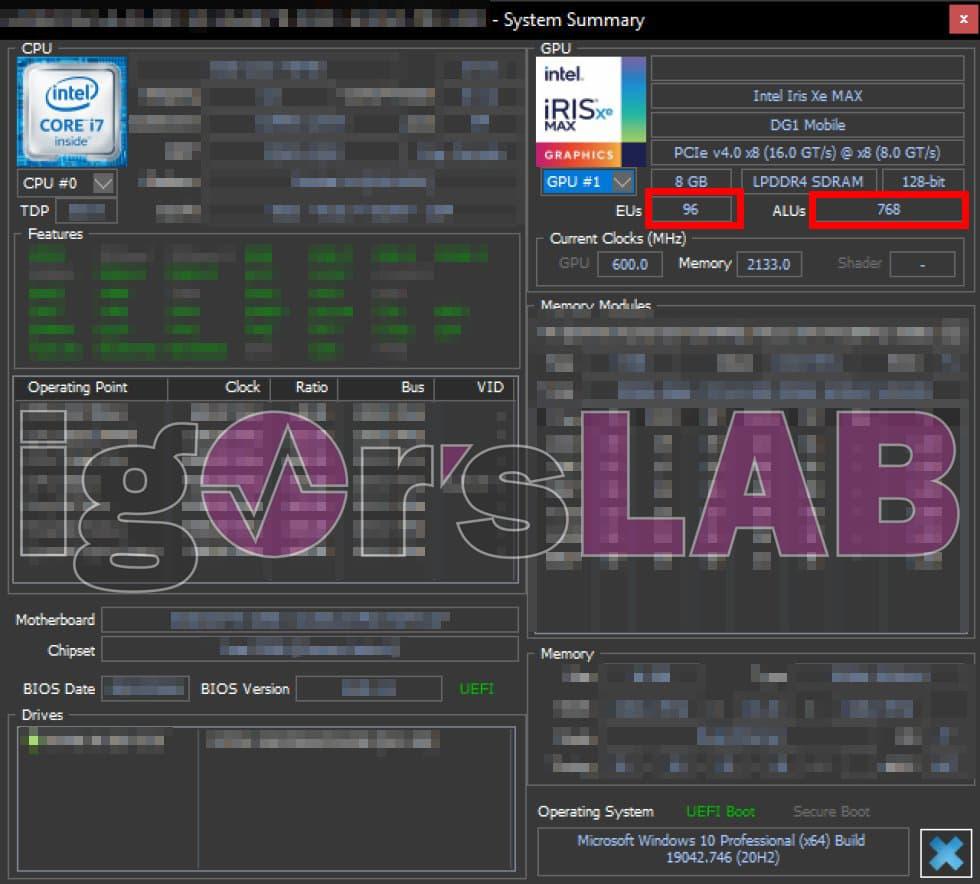 HWiNFO - Intel DG1 Software Development Vehicle