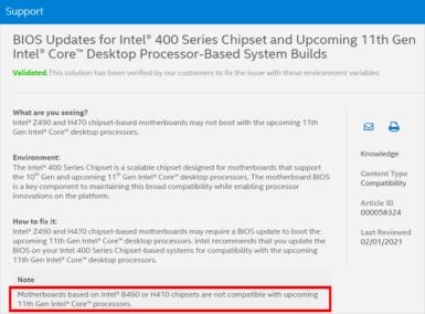 Intelサポートページの記述