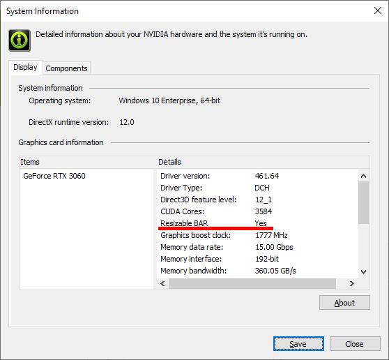 NVIDIAコントロールパネルの『システム情報』から確認できる