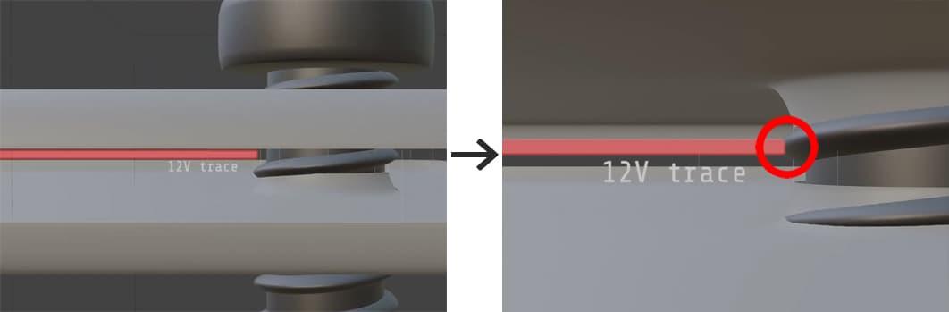 金属ネジと内部回路がショートを起こす