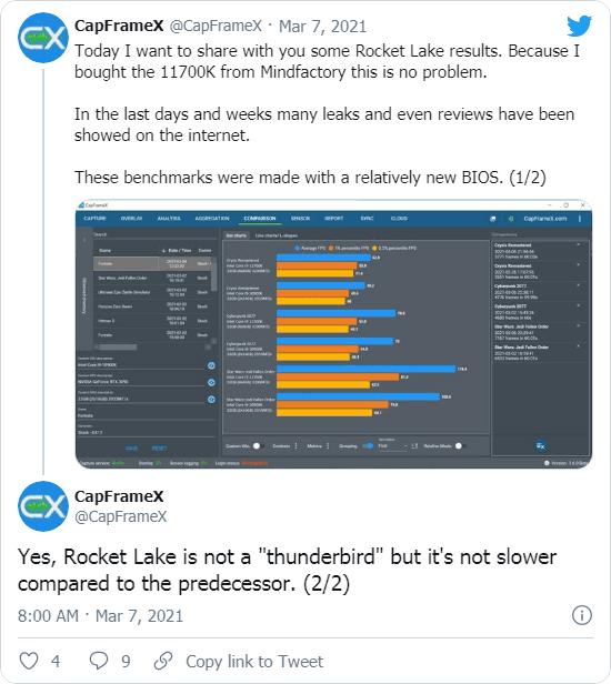 CapFrameXのツイート - 「前世代より遅くない」とのこと