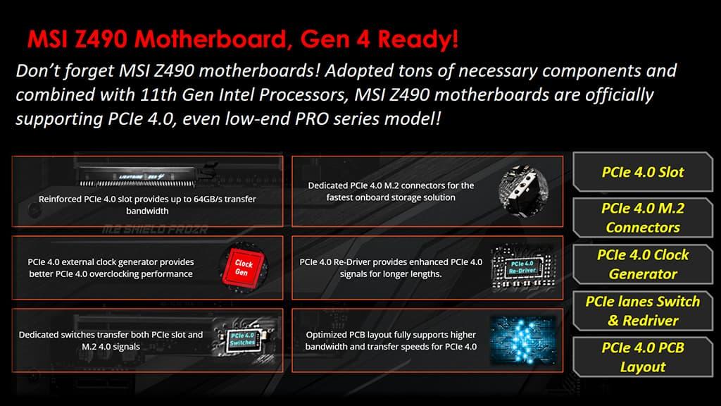 MSI Z490 Motherboard - PCIe 4.0をサポート