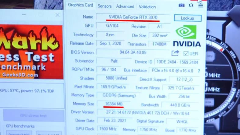 GPU-Z - GeForce RTX 3070 16GBと認識される