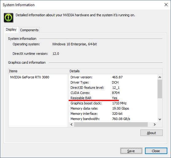 NVIDIAコントロールパネル - 『システム情報』からResizable BARが有効になっているか確認できる