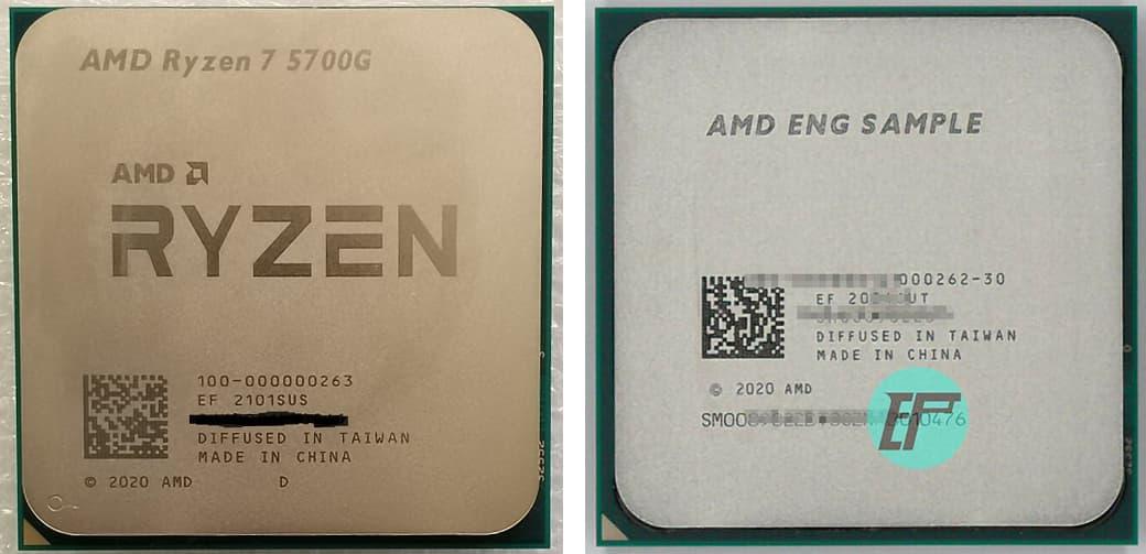 左: 製品版Ryzen 7 5700G / 右: ES版Ryzen 3 5300G