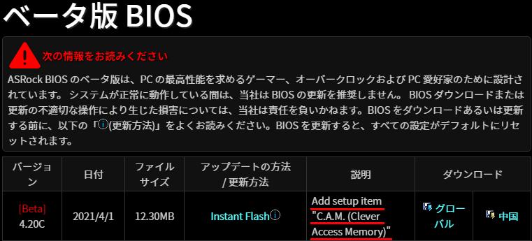 ASRock Fatal1ty Z370 Gaming K6用Resizable BAR (CAM)対応BIOS