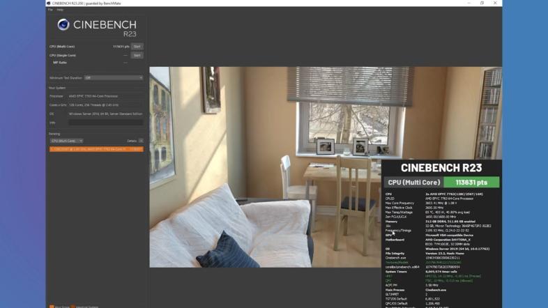 AMD EPYC 7763 Dual- Cinebench R23 Multi Score: 113631