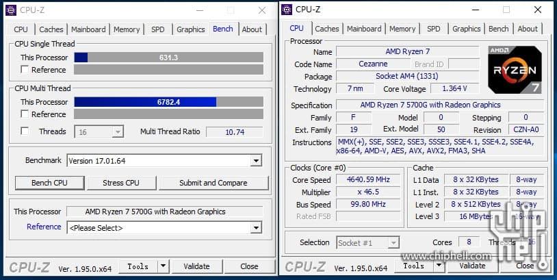 Ryzen 7 5700G@4.65GHz - CPU-Z: シングル631.3 マルチ6782.4