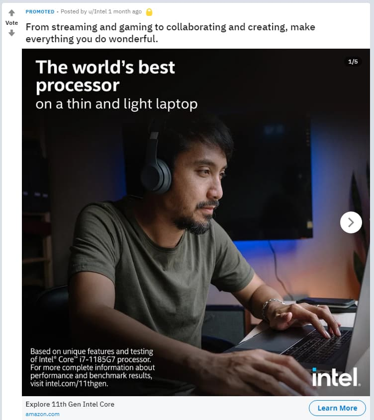 Intel第11世代Core i7-1185G7の広告