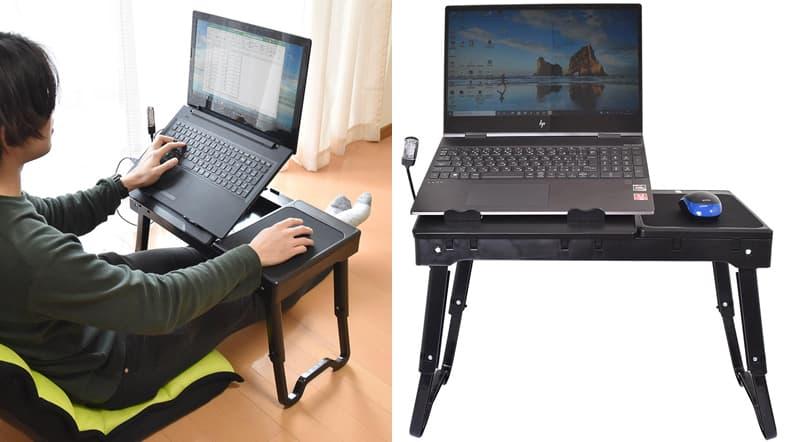 USBハブ付き高さ角度調整ローデスク