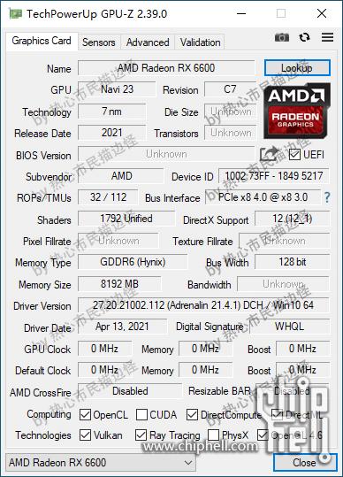 GPU-Z - ES版 Radeon RX 6600 XT